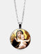 Vintage Virgin Mary And Child Necklace Alloy Glass Printed Pendant Women Necklace - #02