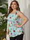 Floral Print Sleeveless O-neck Plus Size Casual Tank Top for Women - Sky Blue