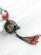 Vintage Flowers Tassel Pendant Round-shape Ceramic Alloy Wood Necklaces - Green