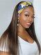 Women Matte Headscarf Long Straight Hair High Temperature Fiber Head Cover Wig - 01