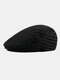 Men Knitted Solid Color Outdoor Leisure Wild Forward Hat Flat Cap - Black