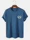 Mens Feather & Letter Print 100% Cotton Short Sleeve T-Shirt - Navy