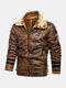 Mens Faux Fur Badge Zip Front Lapel Collar Relaxed Fit Thicken Jackets - Brown