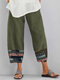 Print Casual Patchwork Elastic Waist Plus Size Pants for Women - Green