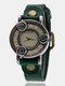 Vintage Thin Band Women Wrist Watch Three Roses Hollow Dial Quartz Watch - Green