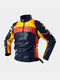 Mens Motorcycle Colorblock Pattern Back Print PU Leather Fit Stand Collar Jackets - Blue