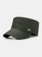 Men Cotton Solid Color Casual Sunshade Peaked Cap Army Hat Military Hat - Green