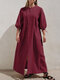 Solid Color Half Sleeves Front Slit Casual Maxi Dress - Wine Red