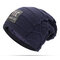 Mens Winter Plus Velvet Warm Knitted Hat Casual NC Letter Solid Skullies Beanie Hat - Navy