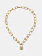 Vintage Alloy Exaggerated Thick Chain Multi-layer Geometric Lock-shaped Love Necklace - #02