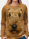 Dog Print O-neck Long Sleeve Casual T-shirt For Women - Brown