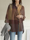Plaid Print Long Sleeves Casual Loose Blouse With Pockets - Yellow