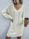 Solid Color Knitted Long Sleeve Casual Sweater Dress - Beige