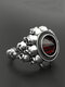 Vintage Skull Men Ring Punk Inlaid Satellite Gem Women Ring - Red Gem + Silver