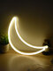LED Cloud Star Moon Pattern Home Decor Table Hanging Wall Neon Lamb Photo Props Battery USB Night Light - Hanging Moon
