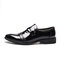 Men Pure Color Splicing Slip On Casual Business Formal Shoes - Black