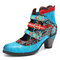 SOCOFY Retro Genuine Leather Flower Embroidery Splicing Elegant Metal Buckle Cutout Chunky Heel Short Boots - Blue