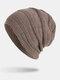 Men Winter Plus Velvet Striped Pattern Outdoor Knitted Warm Beanie Hat - Khaki