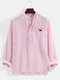 Mens Pinstripe Dog Chest Embroidery Linen Casual Long Sleeve Henley Shirts - Pink