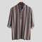 Mens Vintage Ethnic Style Printed Stand Collar Half Sleeve Loose Casual Henley Shirts