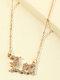 Elegant Letter Inlaid Diamond Women Necklace Twelve Constellation Pendant Necklace Jewelry Gift - Leo