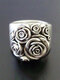 Vintage Alloy Flower Carved Women Ring Jewelry Gift - Silver
