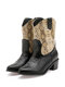 Women Large Size Stitching Snake Decoration Warm Lining Chunky Heel Cowboy Boots - Brown