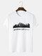 Mens Kansas Building Print Casual Short Sleeve 100% Cotton T-Shirts - White