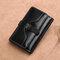 Damen Trifold-Ölwachs aus echtem Leder mit 8 Kartensteckplätzen Vintage Münze Geldbeutel - Schwarz