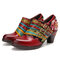 SOCOFY Three Colors Buckle Strap Grace Flower Cloth Splicing Genuine Leather Chunky Heel Shoes - Red