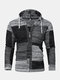 Mens Vintage Block Knitted Patchwork Zipper Hooded Sweater Cardigans - Gray
