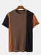 Mens Contrasting Color Waffle Knitted Crew Neck Short Sleeve Preppy T-Shirt - Brown