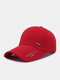 Unisex Canvas Letter Line Print Lengthened Brim Outdoor Sunshade Fashion Baseball Cap - Red