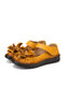 SOCOFY Handmade Flowers Decor Tight Stitched Cowhide Leather Non Slip Loafers Soft Flats Hook Loop Casual Shoes - Yellow