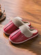 Soft Comfortable Warm Plush Waterproof Upper Closed Toe Home Shoes For Women - Red