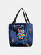Women Colorful Cat Pattern Print Shoulder Bag Handbag Tote - Blue