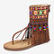 Embroidery Clip Toe Back Zipper Mid Claf Flat Sandals For Women - Brown
