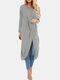 Solid Color Long Sleeve O-neck Pleated Asymmetrical Midi Dress For Women - Grey