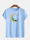 Mens Cotton Funny Graphic Print O-Neck Casual Short Sleeve T-Shirts - Blue