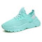 Men Mesh Fabric Breathable Lace Up Sport Casual Sneakers - Blue