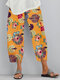 Flower Print Pockets Casual Women Lounge Elastic Waist Pants - Yellow