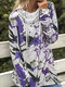 Elastic High-neck Calico Printed Casual Plus Size Blouse - Purple