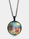 Vintage Glass Printed Women Necklace Colorful Hummingbirds Flowers Pendant Sweater Chain Jewelry - Black