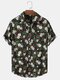 Mens Tropical Plant Floral Print Chest Pocket Turn Down Collar Holiday Shirts - Green