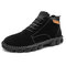 Men Hand Stitching Outdoor Work Style Microfiber Leather Boots - Black