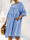 Solid Color 3/4 Length Sleeve O-neck Pocket Pleated Loose Casual Dress - Blue