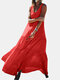 Solid Color O-neck Overhead Sleeveless Pleated Maxi Dress - Red
