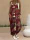Vintage Floral Printed Pockets Strapes Sleeveless Jumpsuits For Women - Red