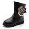 Girls Flower Pearl Decor Warm Lining Zipper Dress Mid-calf Boots