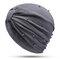 Womens Breathable Comfortable Pearl Headpiece Casual Elastic Beanie Hats Muslim Pile Heap Cap - Gray
